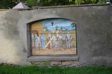 Stacje Drogi Krzyżowej Jezusa - Na Murze Okalającym Kościół W Mściwojowie, Dolny Śląsk, Polska