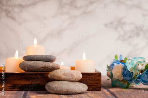 river pebbles on wooden box