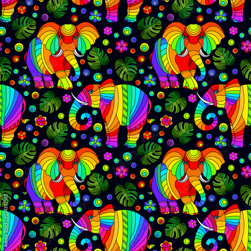mata magnetyczna Seamless pattern with elephants, bright rainbow animals, flowers and leaves on a dark background