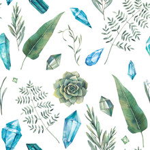 Watercolor Gemstones And Plant...