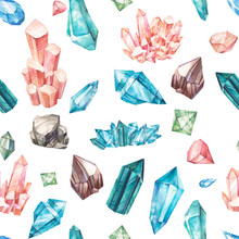 Watercolor Gem Stones Seamless Pattern. Hand Drawn Texture With Crystals And Pendants. Artistic Mineral Illustrations On White Background