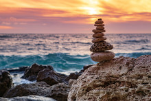 Zen Concept. The Object Of The Stones On The Beach At Sunset. Harmony & Meditation. Zen Stones. Relax.