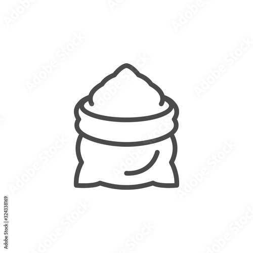 Sack line outline icon and malted flour sign Tapéta, Fotótapéta