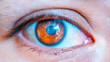 Macro photo of brown eye of young girl.