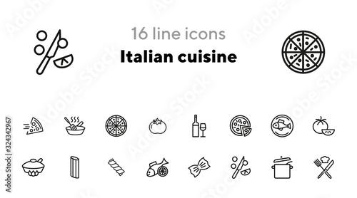 Cuadros en Lienzo Italian cuisine line icon set
