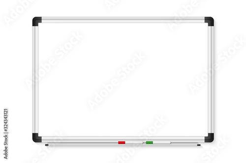 Fototapeta Empty white marker board on transparent background. Realistic office Whiteboard. Vector illustration obraz