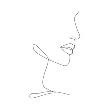 Woman Face One Line Drawing On White Isolated Background. Vector Illustration