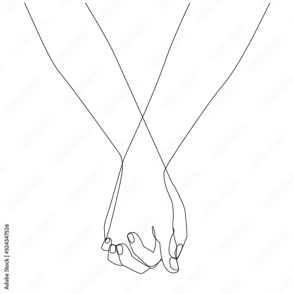Fototapeta Holding hands one line drawing on white isolated background. Vector illustration