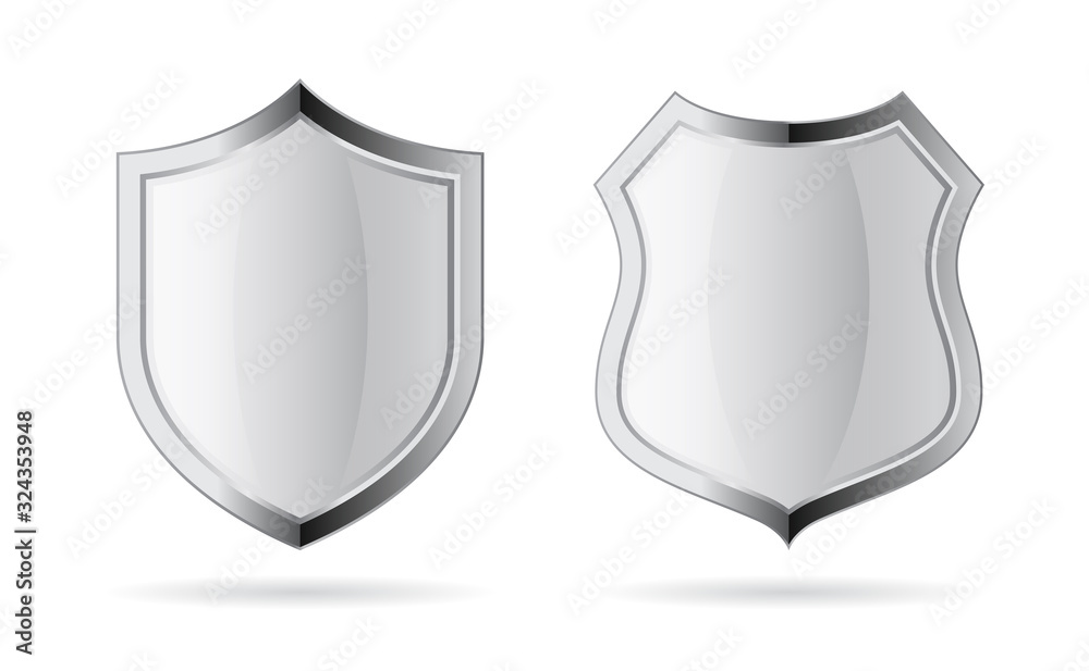 Fotografie, Obraz Silver chrome vector shield