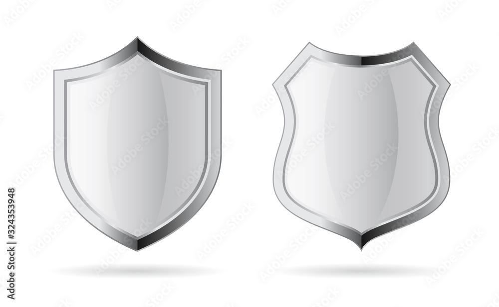 Fototapeta Silver chrome vector shield