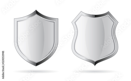 Valokuva Silver chrome vector shield