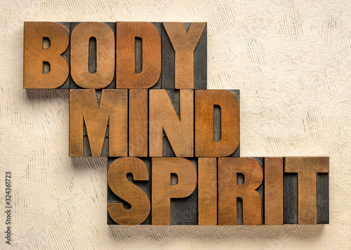 Stampa su Tela body, mind and spirit word abstract