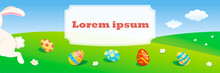 Easter Banner With Colorful Eg...