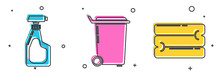Set Cleaning Spray Bottle With Detergent Liquid , Trash Can And Towel Stack Icon. Vector