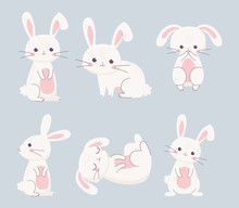 Happy Easter Rabbits Different Poses Cartoon Characters