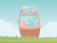 Happy Easter Basket With Eggs Decoration In Grass
