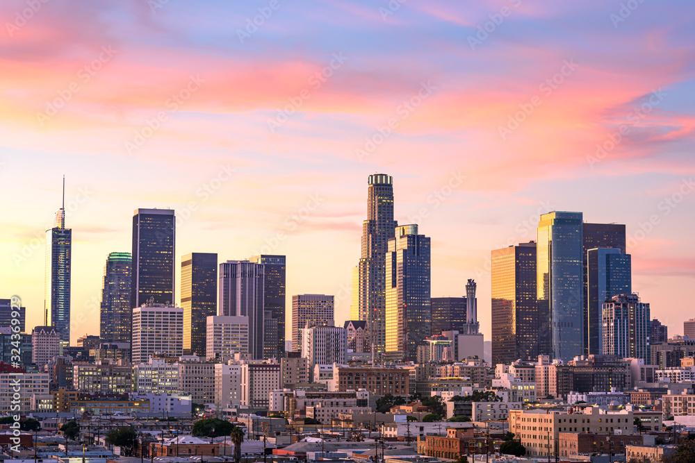 Fototapeta Downtown Los Angeles  skyline at sunset