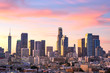 canvas print picture - Downtown Los Angeles  skyline at sunset
