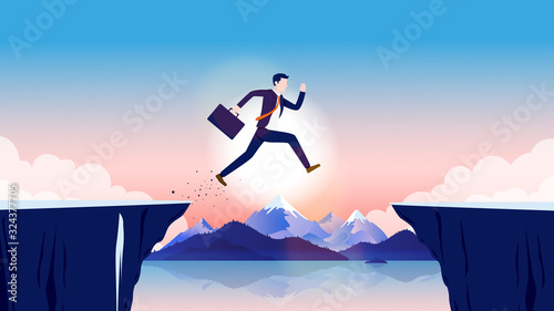 Business obstacle - Businessman taking risk, jumping over gap with open landscape and sunlight in background Canvas Print