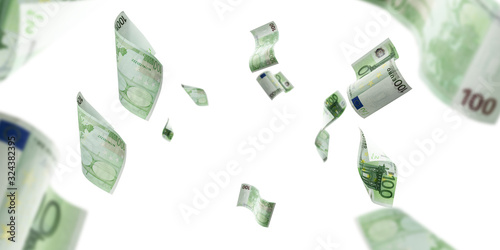 Obraz Euro money background. Banknote falling isolated textures on white background. - fototapety do salonu
