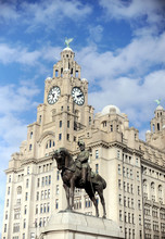 The Liver Building Liverpool With Equestrian Statue Of King Edward VII