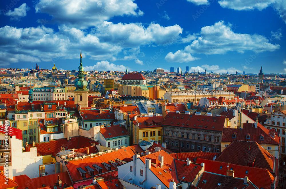 Fototapeta Red Prague roofs