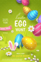 Vector Cute Festive Poster For Easter Egg Hunt With Realistic Colored Eggs, 3D Fur Ears Of Bunny, Paper Chamomiles And Pussy Willow On Green Background. Holiday Cartoon Scene For Party Invitation.