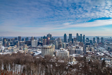 HDR Of Montreal Skyline View From Kondiaronk Belvedere On Mount Royal In Winter