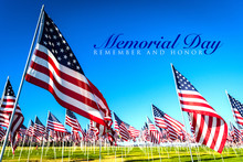 A Large Group Of American Flags. Veterans Or Memorial Day Display
