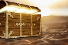 Open Treasure Chest With Golden Coin On Beach Background