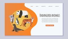 Endangered Vanishing Wildlife Animals Website Vector Template. Amur Tiger, Panda, Penguin, Sea Seal And Koala Cartoon Illustration Save Rare Endangered Animals Website Or Zoo Web Page.