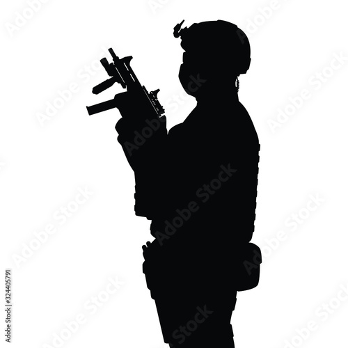 Fotomural Commando special force with weapon silhouette vector