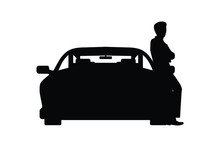 Standing Business Man And Car Silhouette Vector