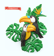 Pair Of Toucans And Tropical L...
