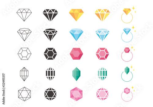 宝石のアイコンイラスト素材 Canvas Print