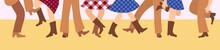 Female And Male Legs In Cowboy Boots Are Knitted On A Flat Floor In A Flat Style. Vector Illustration For A Horizontal Banner With Tatsors In The American Style. Western Dance Of People In Traditional
