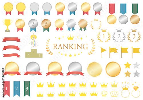 Photo ランキングメダルと王冠とリボンのセット