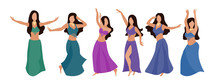 Group Of Belly Dancers With A Multicolor Shawl On A White Isolated Background. Beautiful Brunette Women Dance Oriental Dance. Vector Set Of Six Flat Style Dancers