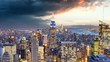 New York skyline at sunset USA Time lapse