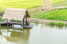 Wood Pavilion In Rice Field. Ayutthaya Landmark In Thailand.