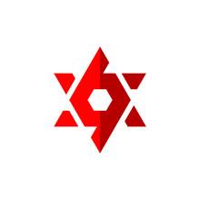 Number 69 Or 96 Logo Template With David Star Line Art Symbol In Flat Design Monogram Illustration