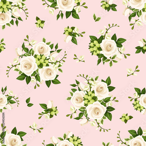 Fototapety, obrazy: Vector seamless pattern with white roses and freesia flowers and green leaves on a pink background.