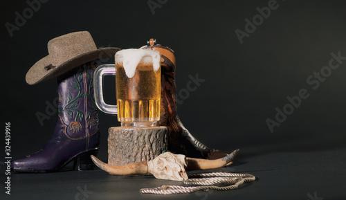 Valokuvatapetti Purple and Tan Cowboy Boots, Mug of Beer, Animal Skull, Cowboy H