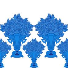 Border With Blue Vintage Vases...