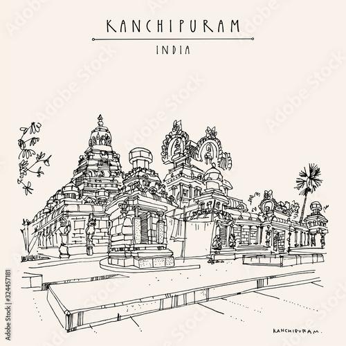 Kanchipuram (Kanchi), Tamil Nadu, South India Tablou Canvas