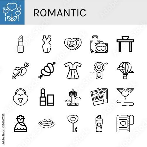 romantic simple icons set