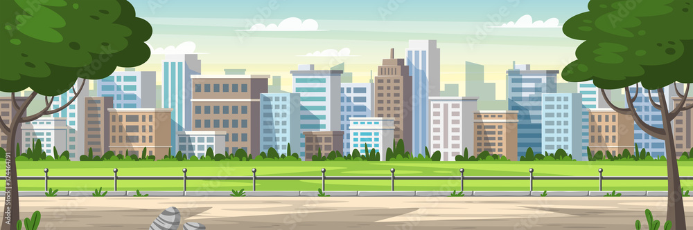 Fototapeta Panorama cityscape with park and trees. Cartoon Vector Illustrations with separate layers.