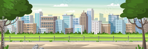 Obraz Panorama cityscape with park and trees. Cartoon Vector Illustrations with separate layers. - fototapety do salonu