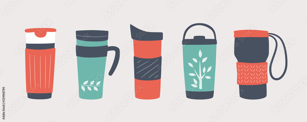 Fototapeta Reusable cups, thermo mug and tumblers with cover. Different designs of thermos for take away coffee. Set of vector illustrations in flat and cartoon style