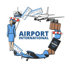 Airport And Air Travel Vector Icon With Plane, Passport And Tower, Flight Tickets And Luggage Frame. Arrival And Departure Passenger Control, Suitcase Baggage And Boarding Pass, Jet Bridge, Windsock